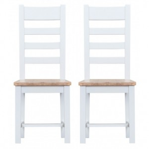 Tenby White Painted Furniture Ladder Back Chair With Wooden Seat Pair