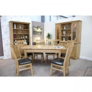 Homestyle Opus Solid Oak Furniture Extending Dining Table Twin Leaf