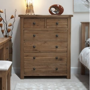 Homestyle Rustic Style Oak Furniture 2 Over 4 Drawer Chest