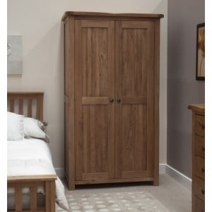 Homestyle Rustic Style Oak Furniture Double Wardrobe