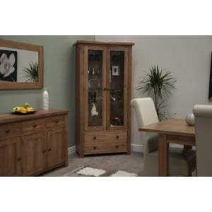 Homestyle Rustic Style Oak Furniture Glass Display Unit