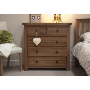 Homestyle Rustic Style Oak Furniture 2 Over 3 Drawer Chest