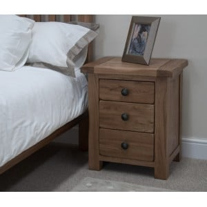 Homestyle Rustic Style Oak Furniture 3 Drawer Bedside Cabinet