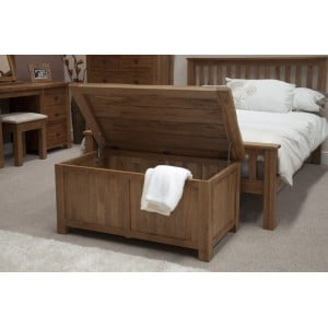 Homestyle Rustic Style Oak Furniture Blanket Box
