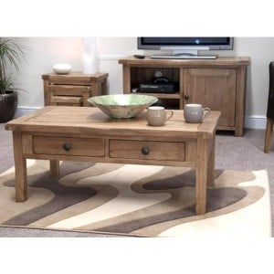 Homestyle Rustic Style Oak Furniture Coffee Table With Drawers