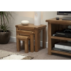 Homestyle Rustic Style Oak Furniture Nest Of Tables