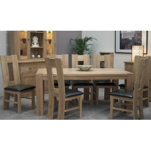 Homestyle Trend Oak Furniture Large Dining Table And Chairs Set