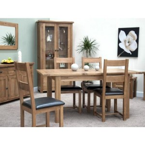 Homestyle Rustic Style Oak Furniture Leather Dining Chair Pair