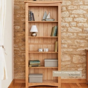 Roscoe Contemporary Oak Furniture Large Bookcase