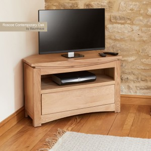 Roscoe Contemporary Oak Furniture Corner TV Cabinet