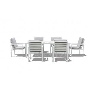 Maze Rattan Amalfi Garden 6 Seat Rectangular Dining Set White Slatted