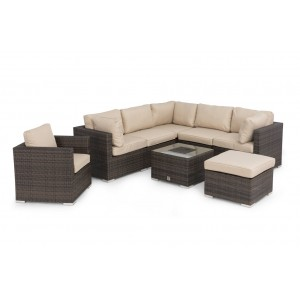 Maze Rattan London Garden Brown Corner Set with Ice Bucket and Chair