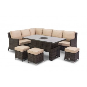 Maze Rattan Venice Brown Corner Sofa Set With Rising Ice Bucket Table