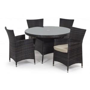 Maze Rattan Miami Garden Brown 4 Seater Round Table Set