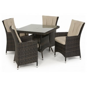 Maze Rattan Texas Garden Brown 4 Seater Square Table Set