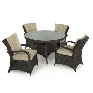 Maze Rattan Texas Garden Brown 4 Seater Round Table Set