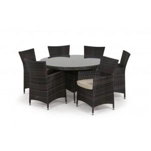 Maze Rattan Miami Garden Brown 6 Seat Round Dining Set