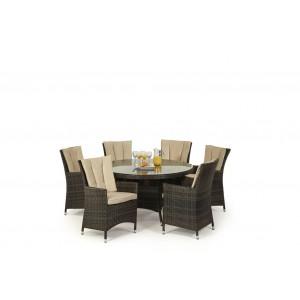 Maze Rattan Garden Furniture LA Brown 6 Seater Round Dining Table Set