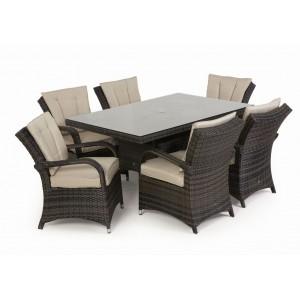 Maze Rattan Texas Garden Brown 6 Seater Rectangle Table Set