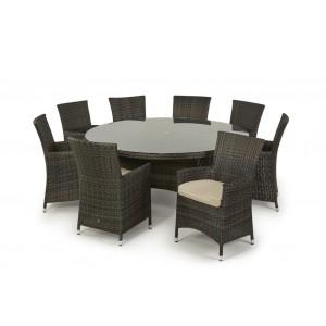 Maze Rattan Miami Garden Brown 8 Seater Round Dining Set