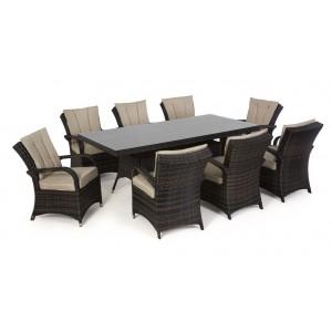 Maze Rattan Texas Garden Brown 8 Seater Rectangle Table Set