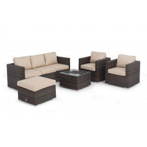 Maze Rattan Georgia Garden Brown 3 Seat Sofa Set With Ice Bucket