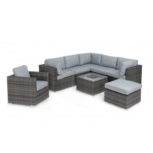 Maze Rattan London Garden Grey Corner Set with Ice Bucket and Chair