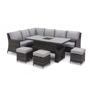 Maze Rattan Venice Grey Corner Sofa Set With Rising Ice Bucket Table