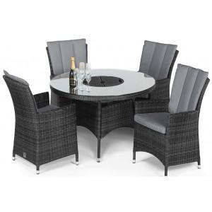 Maze Rattan Garden Furniture LA Grey 4 Seat Round Ice Bucket Dining Set