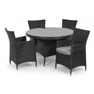 Maze Rattan Miami Garden Grey 4 Seater Round Table Set