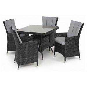 Maze Rattan Garden Furniture LA Grey 4 Seat Square Dining Table Set
