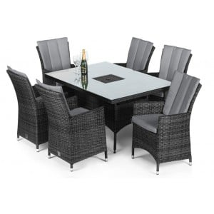 Maze Rattan Garden Furniture LA Grey 6 Seat Rectangular Ice Bucket Dining Set