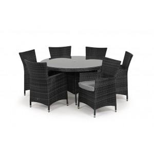 Maze Rattan Miami Garden Grey 6 Seat Round Dining Set