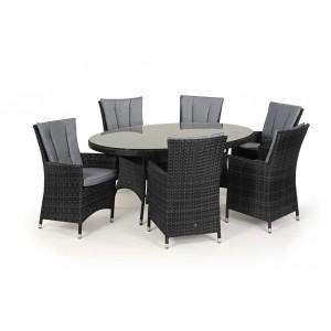 Maze Rattan Garden Furniture LA Grey 6 Seater Oval Dining Table Set