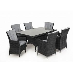 Maze Rattan Garden Furniture LA Grey 6 Seat Rectangle Dining Set