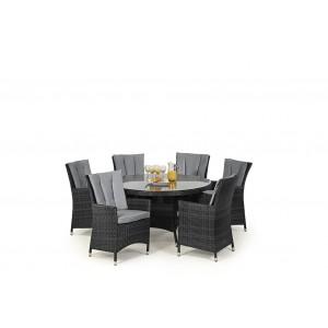 Maze Rattan Garden Furniture LA Grey 6 Seater Round Dining Table Set