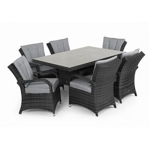 Maze Rattan Texas Garden Grey 6 Seater Rectangle Table Set