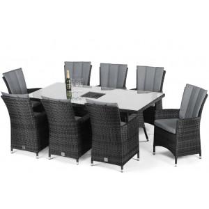 Maze Rattan Garden Furniture LA Grey 8 Seat Rectangular Ice Bucket Dining Set