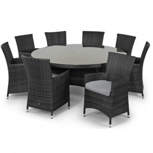 Maze Rattan Miami Garden Grey 8 Seater Round Dining Set