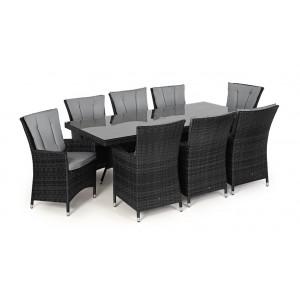 Maze Rattan Garden Furniture LA Grey 8 Seat Rectangle Dining Table Set