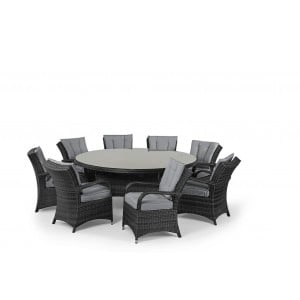 Maze Rattan Texas Garden Grey 8 Seater Round Table Set