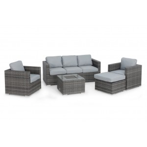 Maze Rattan Georgia Garden Grey 3 Seat Sofa Set With Ice Bucket