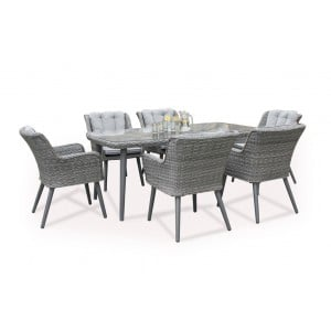 Maze Rattan Florence Garden 6 Seat Rectangular Dining Set