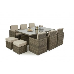 Maze Rattan Winchester 7 Piece Cube Set With Footstools