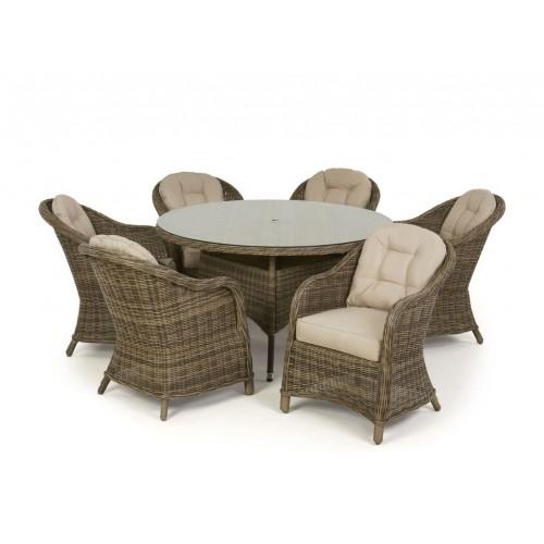 Maze Rattan Winchester Garden Heritage 6 Seat Round Dining Set