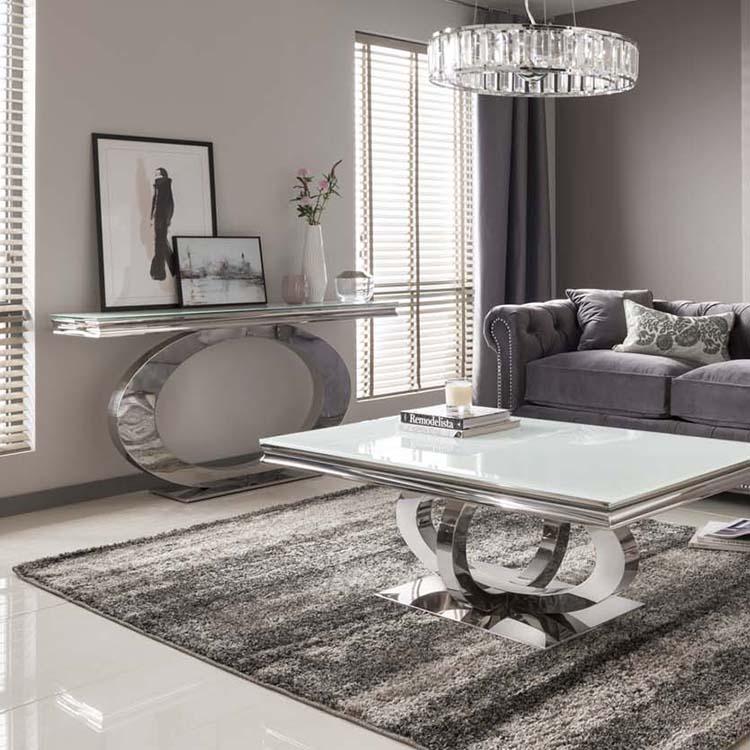 Vida Living Orion Chrome Glass, Glass Living Room Furniture
