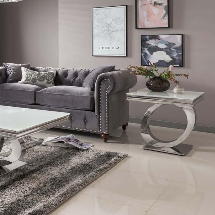 Vida Living Orion Chrome Glass Lamp, Glass Living Room Furniture