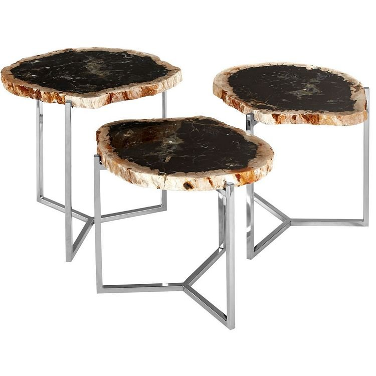 Relic Dark Petrified Wood And Stainless Steel Side Tables Set Of 3 Fusion Furniture Store